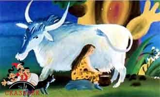 женщина доит дикую корову