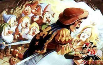принц целует Белоснежку и семь гномов