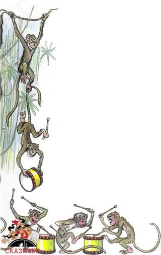 Крокодил обезьяны макаки барабаны