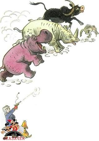 Крокодил мальчик стреляет животные бегут