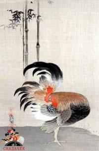 Петух, нарисованный на свитке