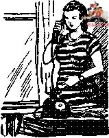 Славина мама говорит по телефону
