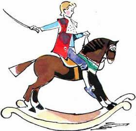 мальчик с саблей на лошади