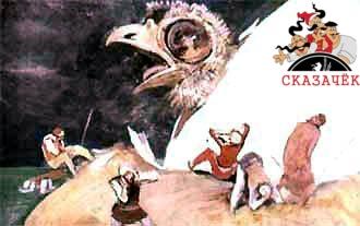 Купцы и матросы еще сильнее били по яйцу. Когда скорлупа треснула, из яйца показался огромный птенец.