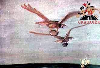 Птица Рухх летела прямо на корабль. Рядом с нею, широко размахивая крыльями, летел Рухх-самец. В когтях у птиц бали зажаты огромные камни.