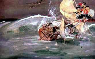 Один из камней упал на корму. Корабль затрещал, накренился и стал тонуть.