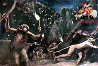стемнело, все горы покрылись движущимися огоньками. Это обезьяны спускались с гор.