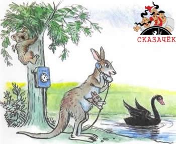 Телефон кенгуру детеныш лебедь черный